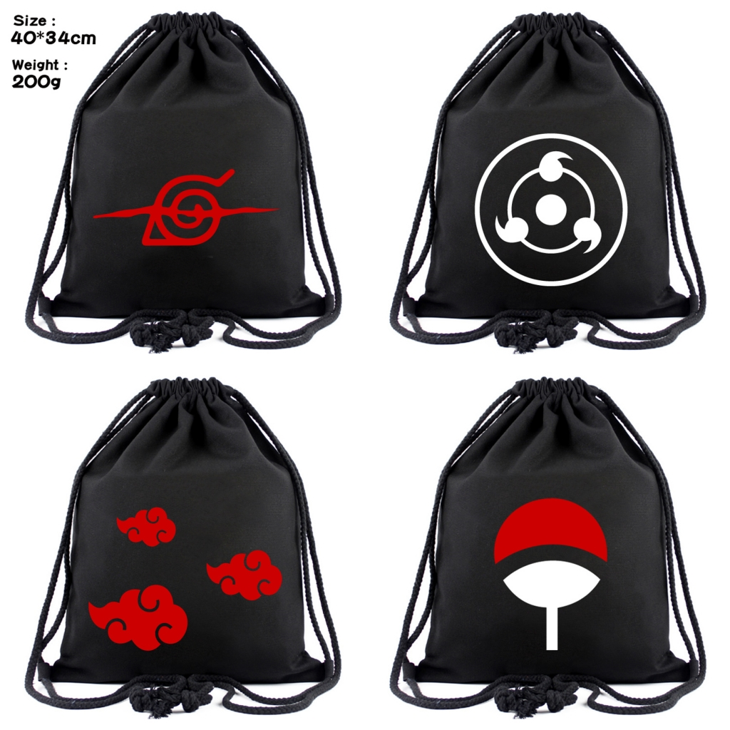 Anime Naruto Canvas Drawstring Bag Uchiha Sharingan Backpack Women Cosmetic Stringbag Boys Girls Casual Beach Bag Shoes Pouch