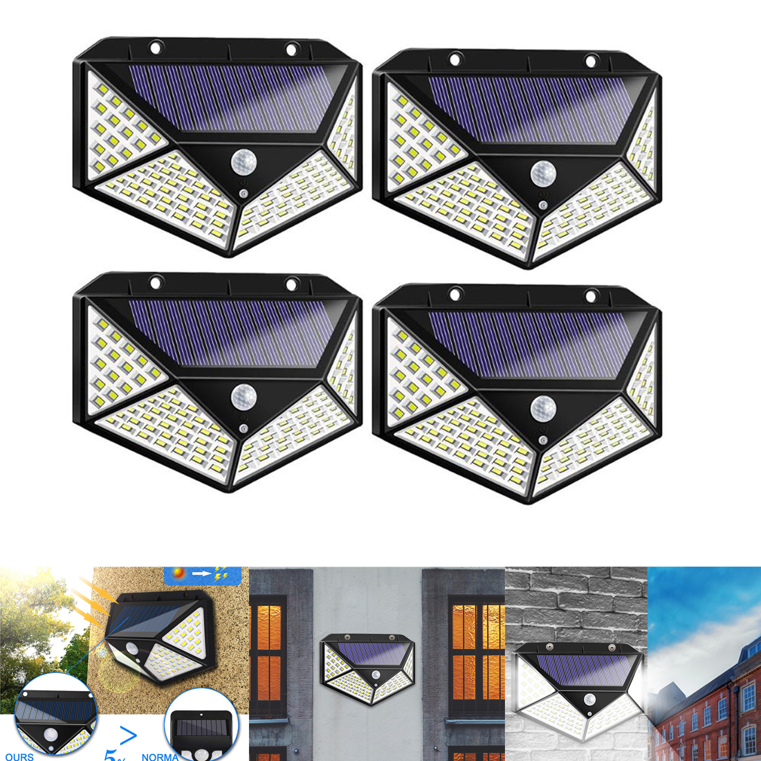 1/2/4pcs Outdoor 100 LED Solar Light Waterproof 4-side Sunlight Solar Powered Lamp PIR Motion Sensor Wall Light For Garden Decor