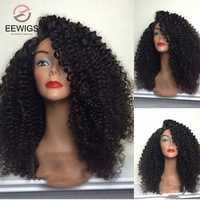 EEWIGS-peluca larga rizada negra sintética de 180% de densidad, peluca con malla frontal con línea de pelo Natural, Afro, resistente al calor, para mujeres negras