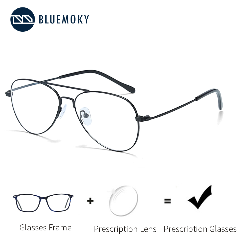 BLUEMOKY Ultra Light Optical <font><b>Glasses</b></font> Pilot <font><b>Progressive</b></font> <font><b>Prescription</b></font> Eyeglasses <font><b>Men</b></font> Design Spectacles Eyewear Fashion BT2112 image