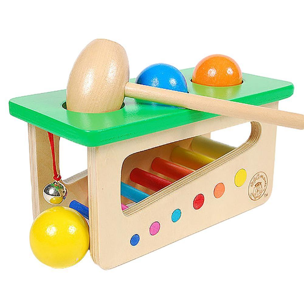 Wooden Knocking Hammer Rolling Ball Jingle Bell Kids Music Developmental Toy New