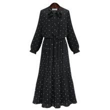 2019 New Fashion Women Round Collar Long Sleeve Polka Dot Print Long T-shirt Loose Casual Bohemian Pleated Maxi Dress цены