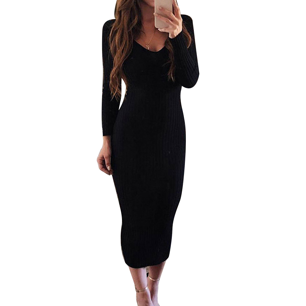 Sexy Women Long Sleeve V Neck Backless Ribbed Bodycon Sliming Knitted Midi Dress Party Dress Vestidos summer dress 5