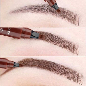 5 Colors Eyebrow Pen Waterproof 4 Fork Tip Eyebrow Tattoo Pencil Cosmetic Long Lasting Natural Dark Brown Liquid Eye Brow Pencil недорого