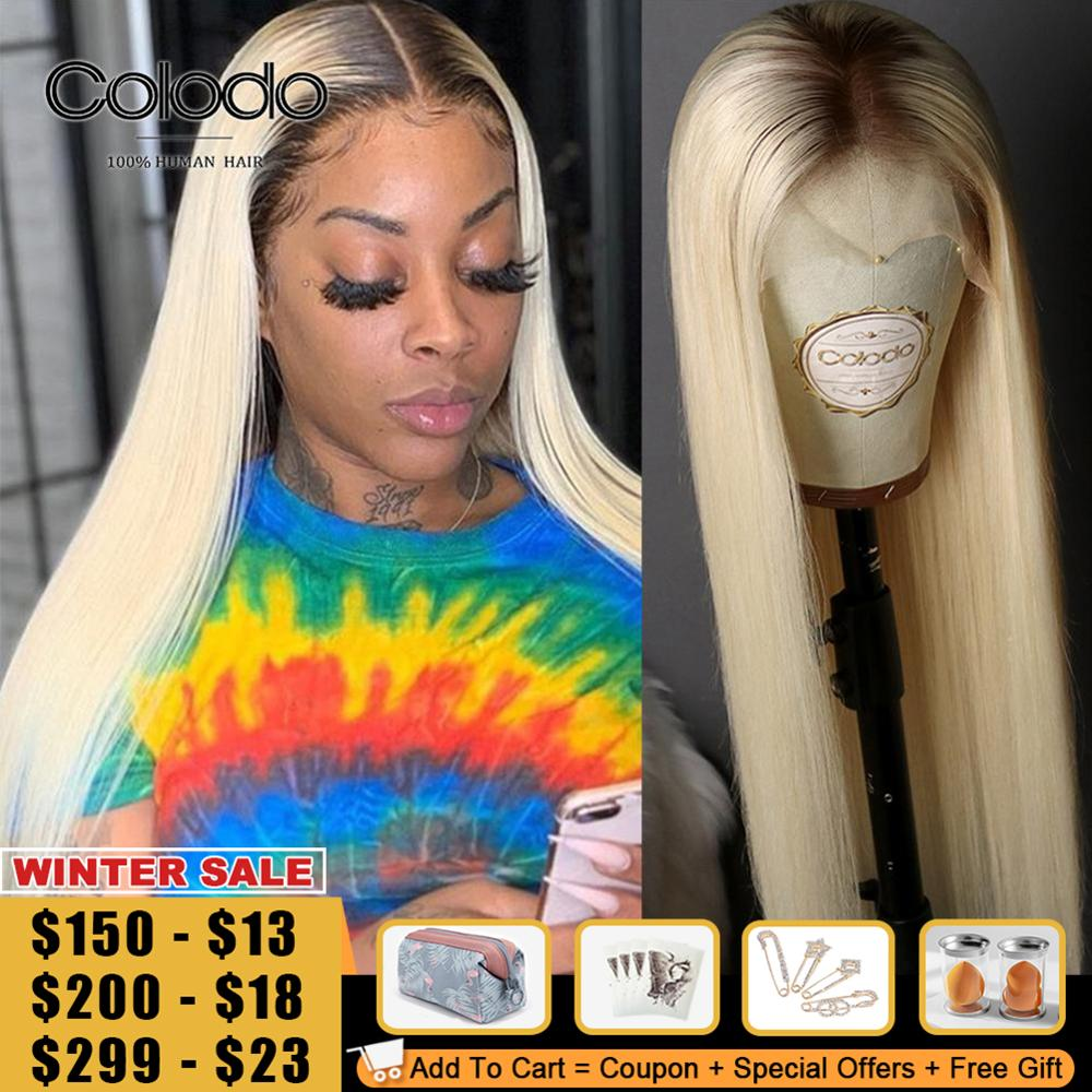 COLODO Platinum Blonde Ombre Human Hair Wig 13x4 Lace Front Wig Brazilian Remy PrePlucked #6 Roots 150% Straight Wigs For Women