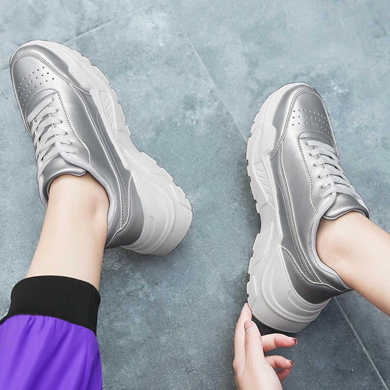 Kadın rahat ayakkabılar Femme 2018 ilkbahar sonbahar ayakkabı kadın Sneakers Flats moda dantel-Up platformu beyaz nefes kadın ayakkabı