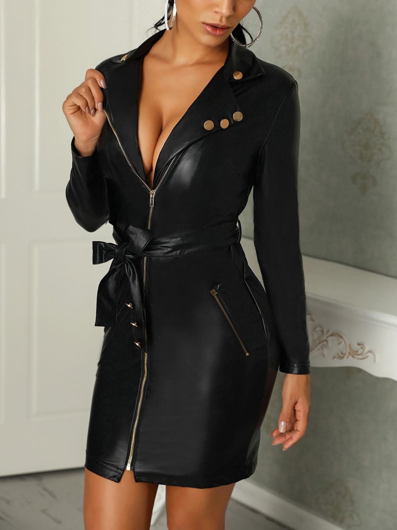Модные женские платья из искусственной кожи с v-образным вырезом и длинным рукавом, сексуальное черное короткое платье на молнии