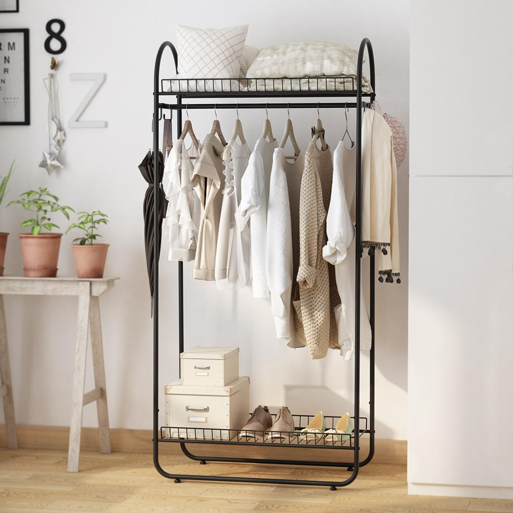 LANGRIA Simple All-Metal Free Standing Commercial Grade Clothing Garment Rack With Top Rod And Lower Storage Shelf For Shoes