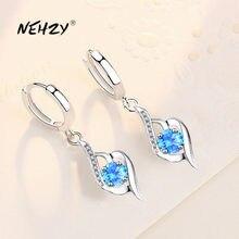 NEHZY925 gümüş 2021 yeni kadın moda takı yüksek kalite mavi pembe kristal zirkon kalp şeklinde içi boş küpe
