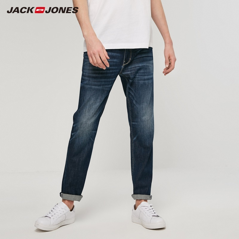 JackJones Men's Winter Loose Straight Fit Dark Color Crop Jeans Hiphop Menswears| 219232519