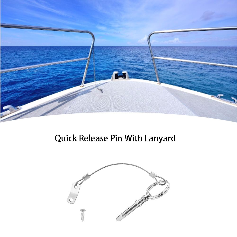 2Pcs Stainless Steel Quick Release Pin With Lanyard For <font><b>Boat</b></font> <font><b>Bimini</b></font> <font><b>Top</b></font> Deck Hinge Marine <font><b>Hardware</b></font> Rowing Accessories image