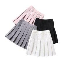 Meninas saias plissadas 2019 nova chegada rosa branco adolescente crianças saia de cintura alta meninas tutus saias casuais para 2-13y gs68