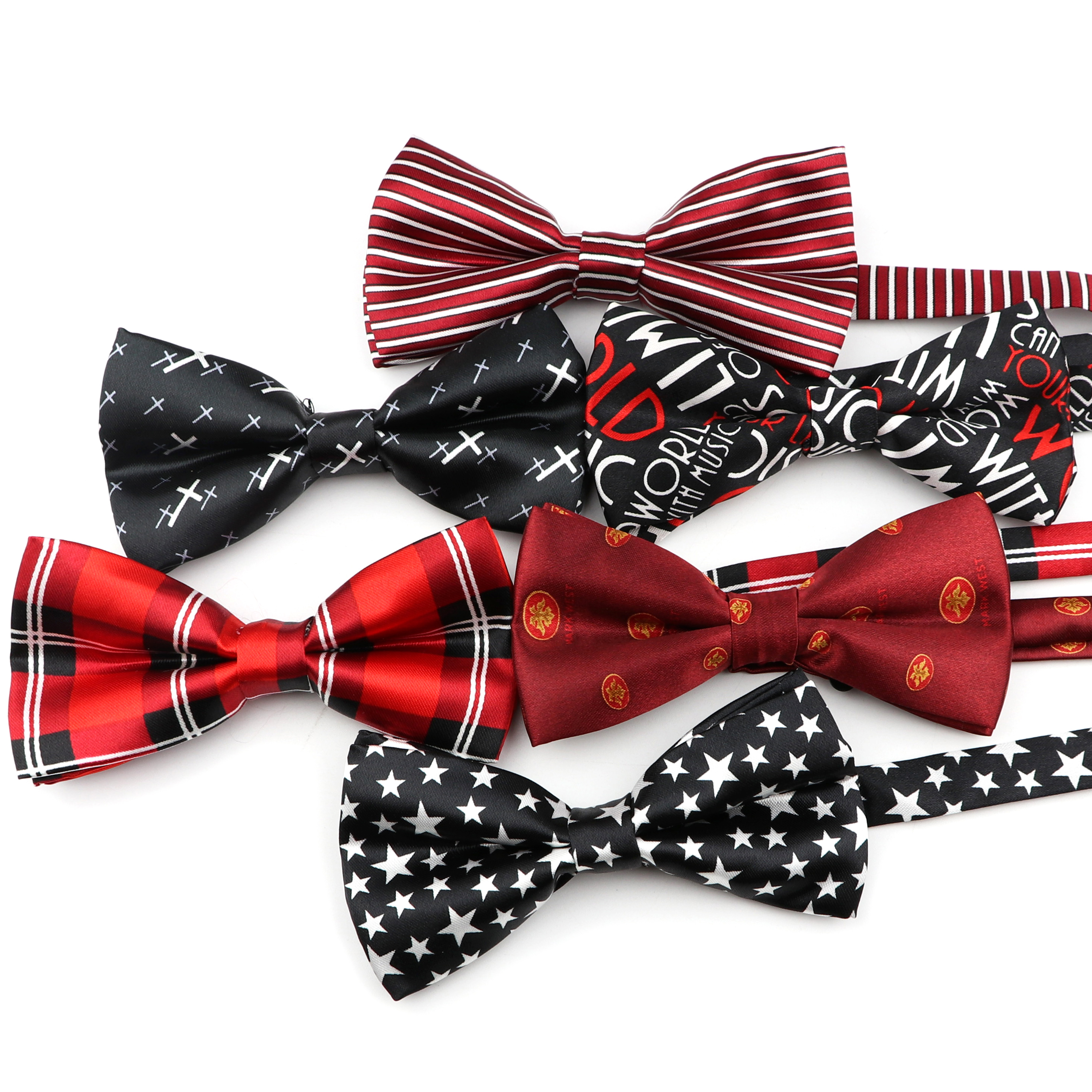 Mens Striped Bow Tie Dot Bowtie Smooth Plaid Necktie Soft Polyester Star Butterfly Festival Striped Ties