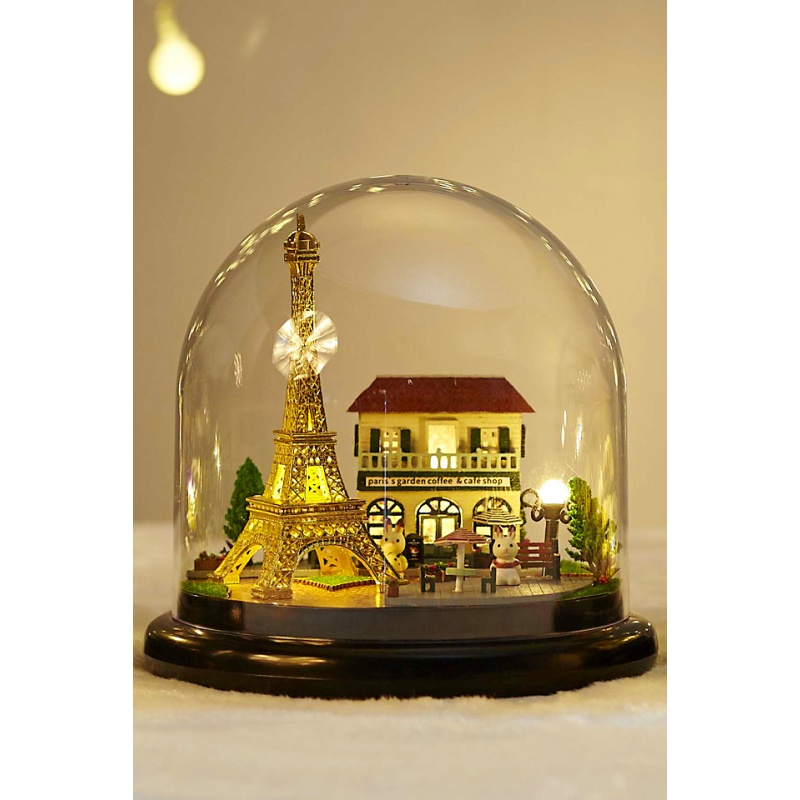 3D Glass Doll House DIY Paris Eiffel Tower Glass Ball Handmade Wooden Dollhouse Miniature Home Assembling Toy Model Building Kit