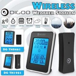 Digoo DG-TH1981 stacja pogodowa cyfrowy LCD higrometr termometr miernik bezprzewodowy kryty odkryty prognoza czujnik z zegarem podświetlany