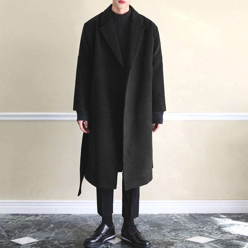 M 4XL зимние мужские пальто теплая искусственная шерсть куртки простой длинный рукав Тренч уличная мода мужской длинный Тренч пальто 2020|Пальто| | АлиЭкспресс