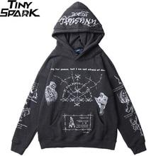 Sudadera con capucha de estilo Hip Hop para hombre, ropa de calle, sudadera con dibujo grafiti de Calavera, Jersey de algodón gris, ropa Punk Harajuku 2020