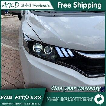 Headlights For Car Honda Jazz 2014-2019 New Fit DRL Day Running Light Head Lamp LED Bi Xenon Bulb Fog Light Tuning Car Accessory