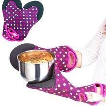 Термостойкие перчатки для микроволновой печи с узором в горошек, перчатки для духовки, анти-обжимные перчатки, кухонные принадлежности для барбекю