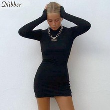 Nibber Sexy backless long sleeve skinny clubwear black mini Dress Women 2020 autumn Fashion Casual pure Bodycon Dresses mujer