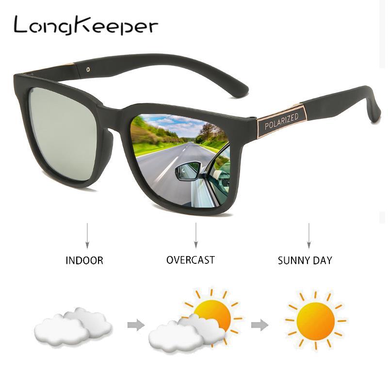 LongKeeper 2020 Chameleon Photochromic Sunglasses Men Women TR90 Sport Polarized Driving Goggles gafas de sol UV400