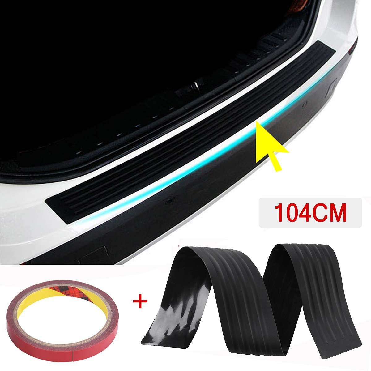 Car Truck Universal Rear Bumper Sill//Protector Plate Rubber Cover Guard Trim Pad
