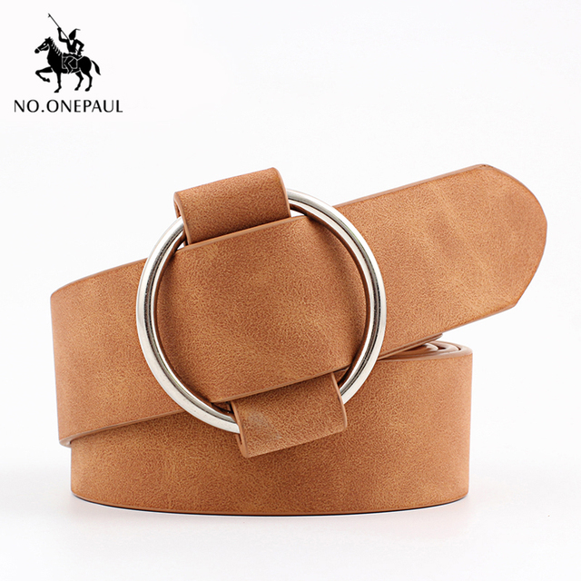 Genuine quality ladies fashion latest needle-free metal round buckle belt 3