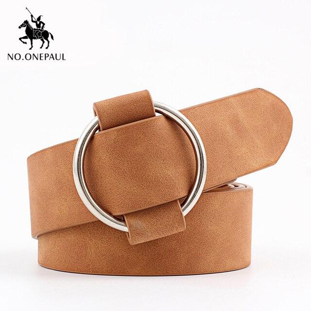 NO.ONEPAUL Genuine quality ladies fashion latest needle-free metal round buckle belt jeans wild luxury brand the women belt for 6