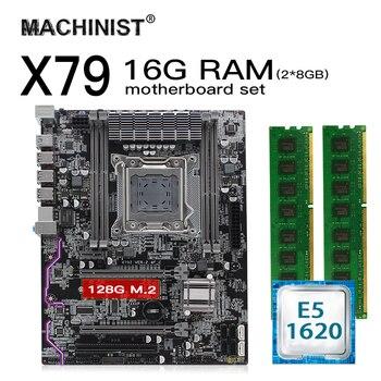X79 LGA 2011 motherboard set kit atx with Intel Xeon E5 1620 CPU 16G(2*8G) 1600mhz REG ECC RAM M.2 NVME 128Gb SSD hard disk