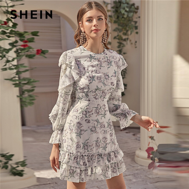 SHEIN Multicolor Open Back Layered Hem Ruffle Detail Floral Fitted Dress Women Spring Long Sleeve Sexy Short Dresses