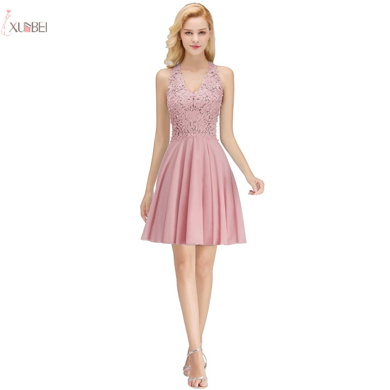 Burgundy Chiffon Short Bridesmaid Dresses 2019 Sexy Elegant Wedding Party Dress Guest Gown V Neck Sleeveless Vestido Madrinha