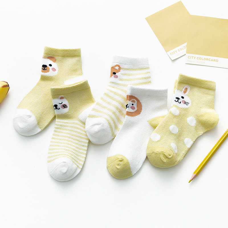 Cotton Mesh Baby Socks Summer Soft Breathable Newborn Baby Girl Socks Cartoon Animal Baby Boy Sock 5Pairs/Lot Happy Kids Socks