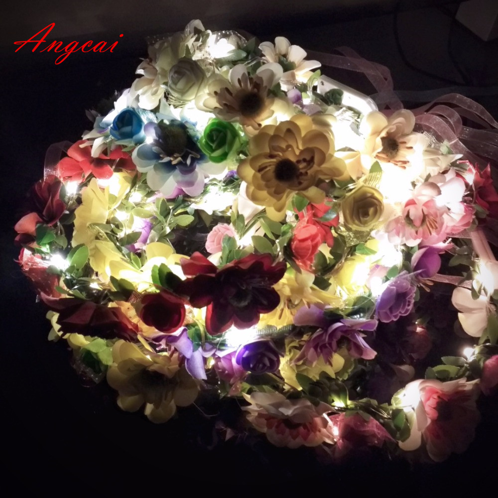 Novelty Place String Light Up Flower Headband - LED Floral Head Crown For Wedding, Festival And Party Gift
