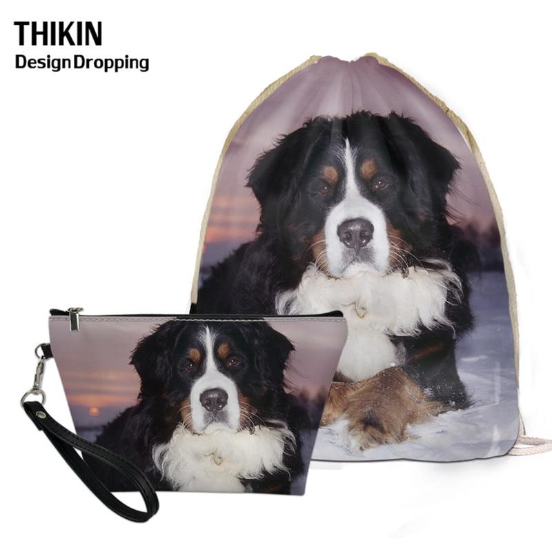 THIKIN 2020 Cute Bernese Mountain Dog Small Bag Drawstring Pouch Leather Large Makeup Bag 3D Printed Female Mochilas Saco Cordon