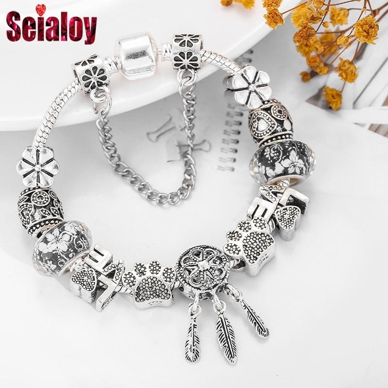 Fashion Bear Palm Dreamcatcher Feather Charm Bracelets For Women Men Original Crystal Flowers LOVE Beaded Bangle Gift