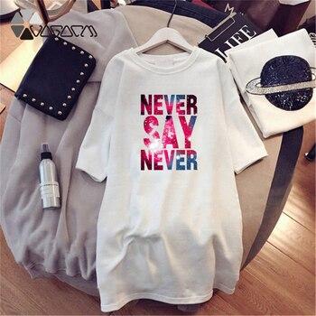 Women Dresses NEVER Series Letter Plus Size Black Mini Dress Loose Summer Long T Shirt Casual Clothes Femme Tops White Sukienka 163