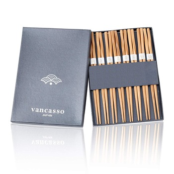 Vancasso Haruka Japanese Chopsticks Gift Set Natural Bamboo 8 Pairs Reusable Chopstick for Sushi,Noodle,Rice,Ramen with Gift Box 1