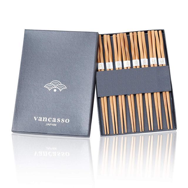 Vancasso Haruka Japanese Chopsticks Gift Set Natural Bamboo 8 Pairs Reusable Chopstick for Sushi,Noodle,Rice,Ramen with Gift Box 1