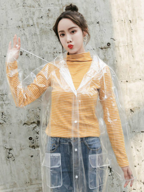 Adult Long Clear Raincoat Women Transparent Rain Poncho Protection Plastic Suit Waterproof Coat Jacket Gabardina Mujer Gift