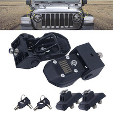 Hood cierres de acero inoxidable captura capucha para Jeep Wrangler JK JL 2007-2018 bloqueo de la cubierta del motor de la capucha con clave