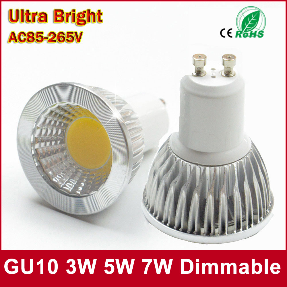 <font><b>LED</b></font> Spotlight GU10 COB Dimmable <font><b>led</b></font> bulb <font><b>3W</b></font> 5W 7W Warm White / white 85-265V Ultra Bright <font><b>GU</b></font> <font><b>10</b></font> Bulbs Free shipping 1PCS image