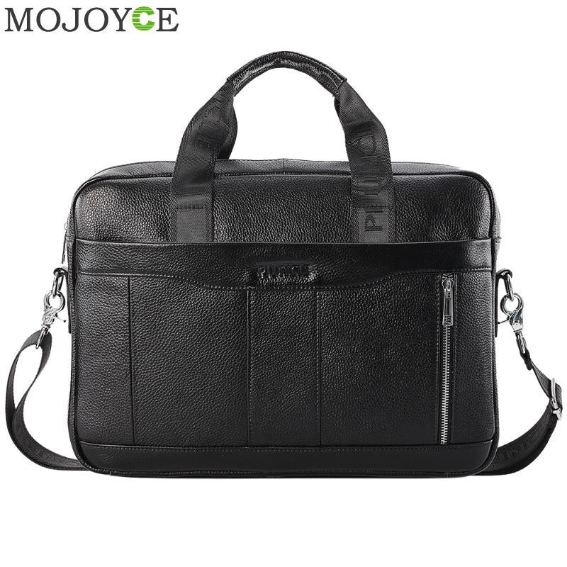 Multi-function Genuine Leather Shoulder Messenger Bag Men Business Briefcase Solid Color Crossbody Handbag
