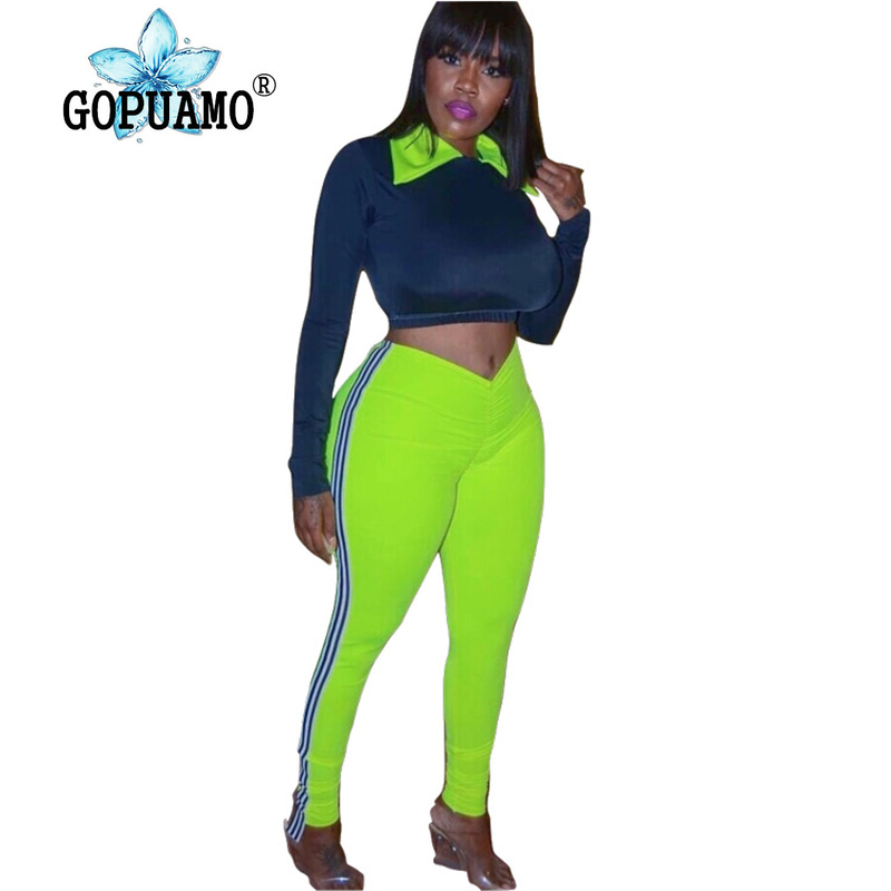 Ensembles femmes néon vert Sexy 2 pièce correspondant col claudine pleine manches Bandage haut + rayé épissé crayon pantalon survêtement