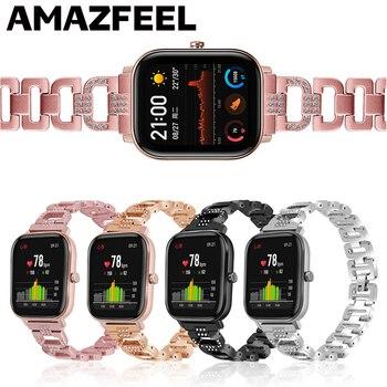 Crystal diamond Watch Strap for Huami Amazfit GTS Bip Lite stainless steel bracelet metal band For Amazfit Bip S GTR 42mm Belt
