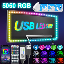 1M-30M Bluetooth USB Led Strips Lights 5050 RGB Waterproof Flexible Ribbon Diode Tape TV LED BackLight With Power Adapter