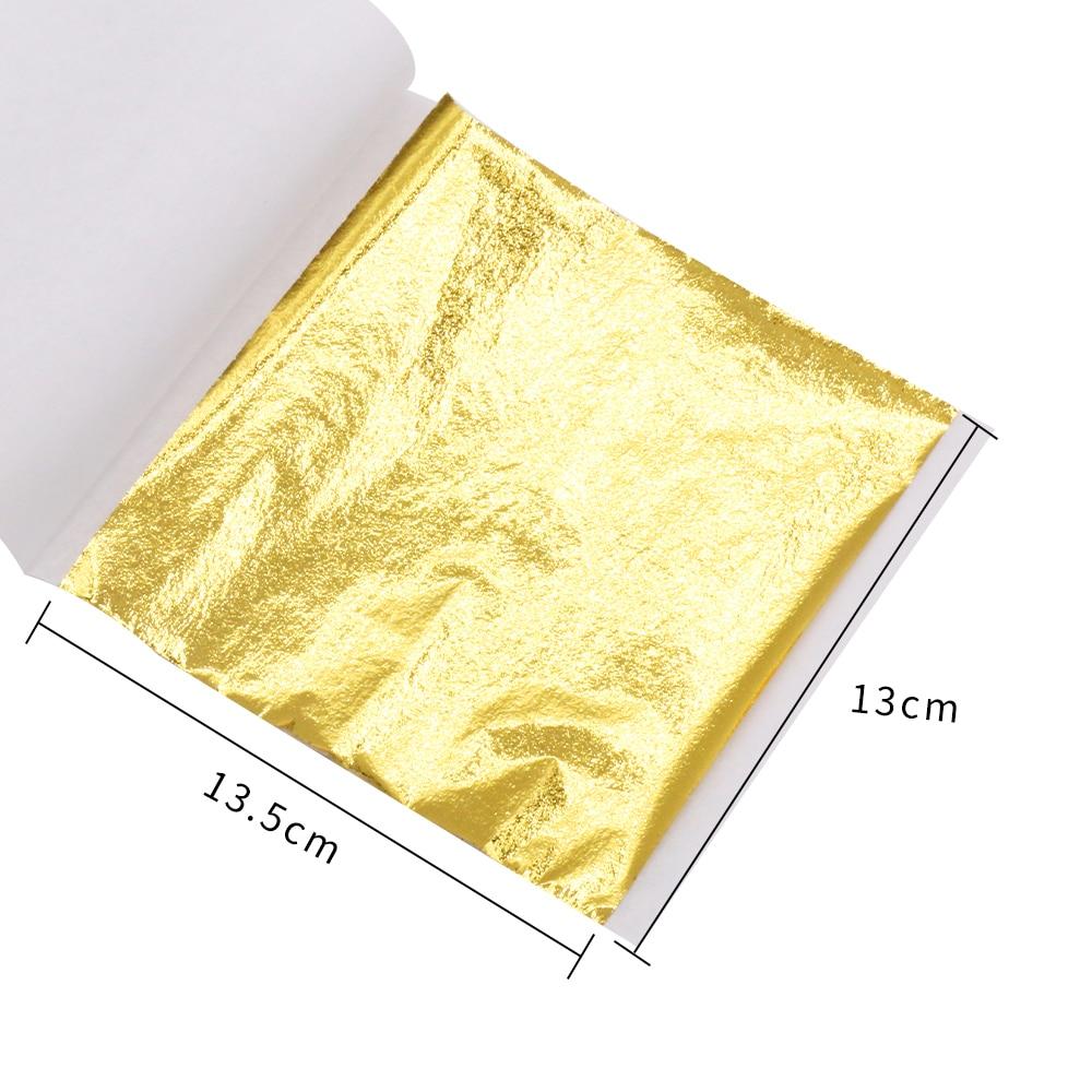 Taiwan Gold Leaf Foil Paper For Art Craft Wall Furniture Statue Decoration 1000pcs 13x13.5cm Imitation Gold Leaf Sheets Gilding