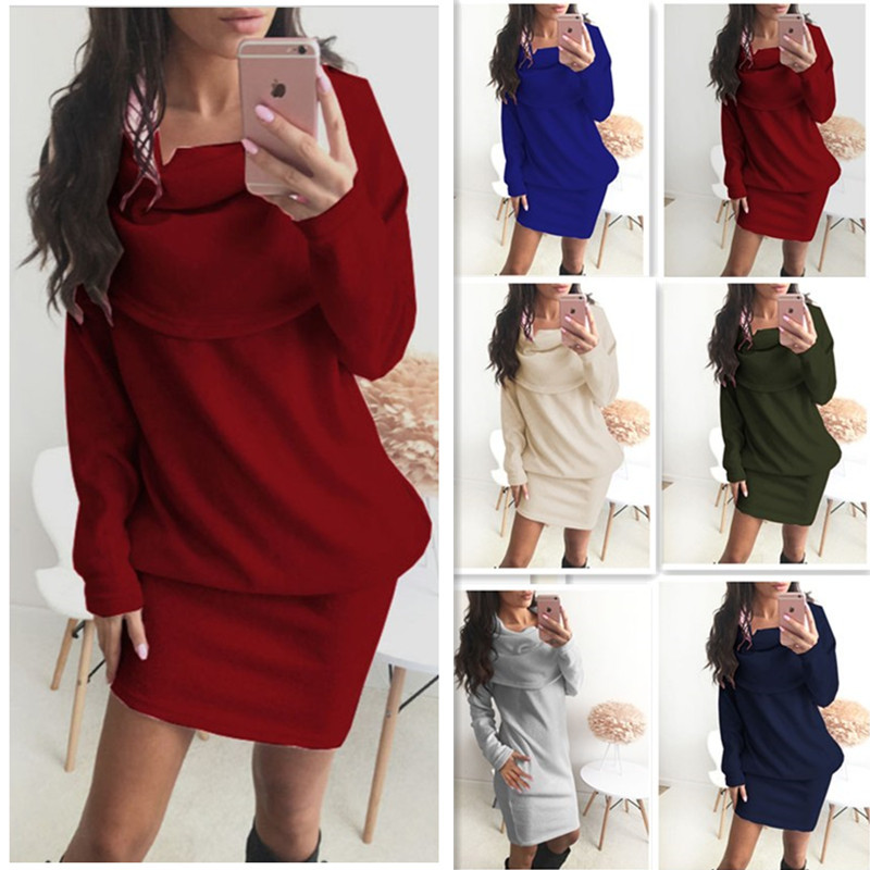 Fashion Winter Autumn Womens Casual Long Sleeve Jumper Turndown Collar Sweaters Dress Pregnancy Clothes Dresses Pregnancy Dress