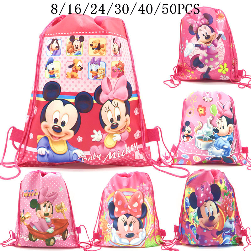 8/16/24/50PCS Minnie Mouse Fashion Portable Shoes Bag Sport Storage Pouch Drawstring Dust Bags Non-woven Beach Travel Backpacks
