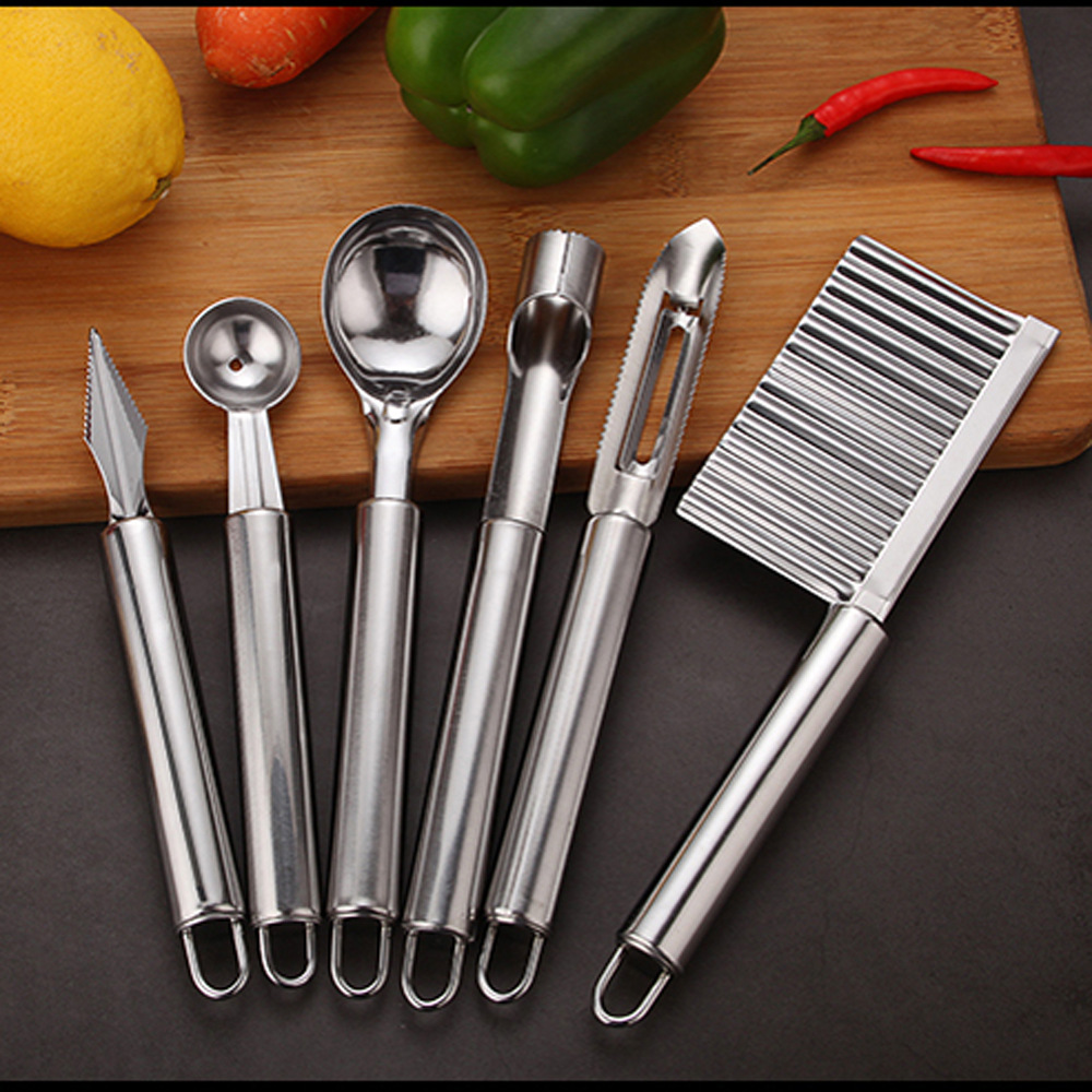 Набор инструментов для фруктов из нержавеющей стали, современный минималистичный нож для чистки яблок, ложка для мороженого, бытовые кухон...