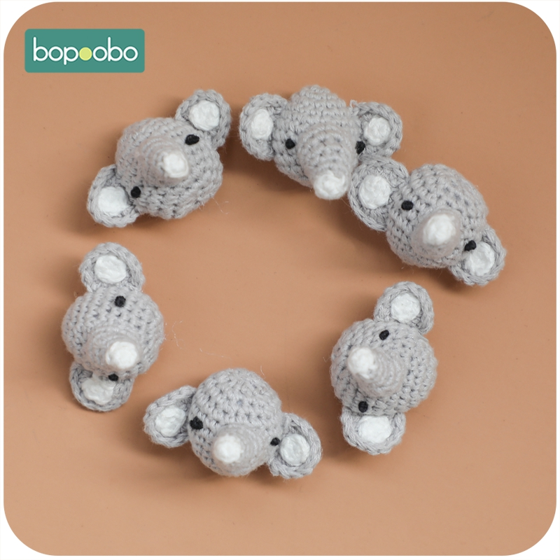 Bopoobo 50pc Baby Nursing Teething Bunny Crochet Beads Chewable Beads DIY Jewelry Nursing Accessories Gehaakte Toy Baby Teether